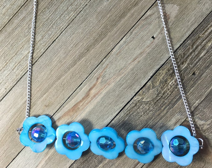 CLEARANCE! Shiny blue mother of pearl daisy flower bar necklace shiny opalescent beads with inset of iridescent beads dainty silver chain