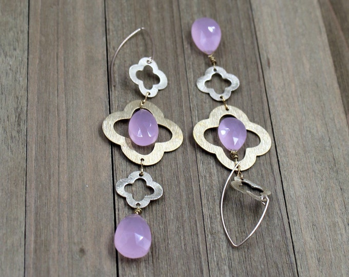 Pear shaped light pink chalcedony gemstone earrings with brushed gold clover quatrefoil shapes on 14k gold filled earwires