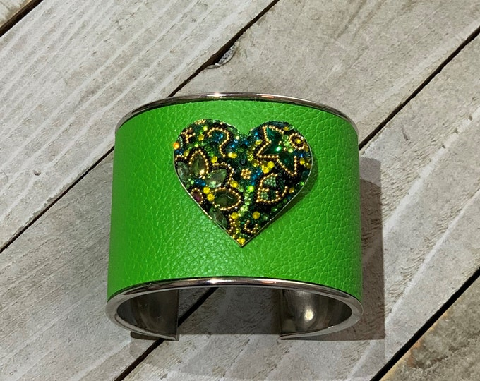 Silver, bright green leather & rhinestone pave heart set in sterling silver embellishment inlaid cuff bracelet