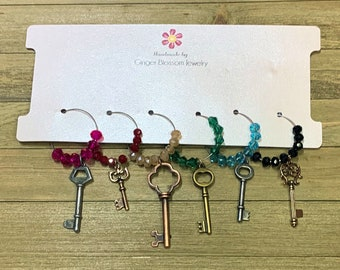 Set of 6 Wine Glass Charms Mixed Metal Keys