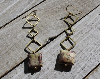 Fancy jasper squares suspended from three brass squares, hanging from 14k gold filled ear wires