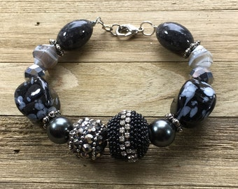 CLEARANCE - Unique black silver grey glass metal large bead statement bracelet rhinestone hematite spikes silver wire closes w lobster clasp