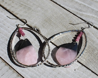 Chunky large rose quartz with hematite and pink tourmaline beads inside silver teardrop hoops on sterling silver earwires