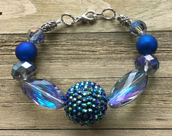 CLEARANCE - Chunky blue beaded bracelet w large iridescent candy glass beads sparkle large spiked iridescent blue bead with silver & toggle