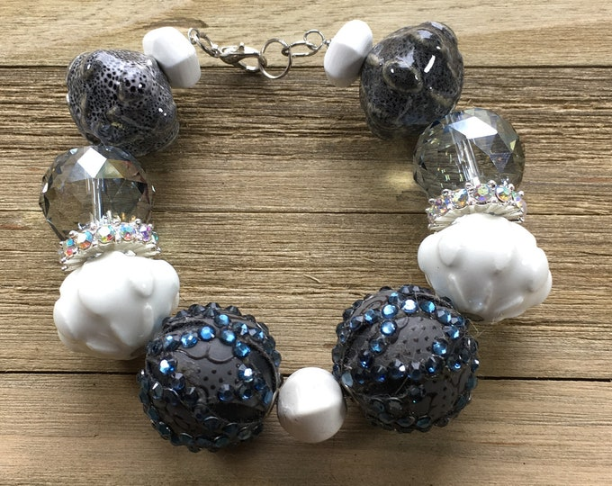 "CLEARANCE - Chunky dark blue statement bracelet with rhinestones, grey and white beads with silver lobster clasp closure 8"" long"