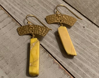 Chunky large yellow imperial sea sediment jasper tooth beads suspended from brass arches on 14k gold filled ear wires