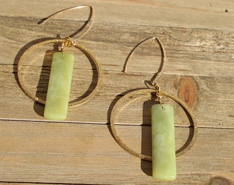 Sparkly brass circles with rectangle serpentine stones on 14k gold filled earwires