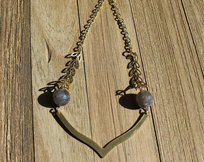Geometric brass and faceted labradorite beads and leaf chain with v shaped brass bar on a brass chain