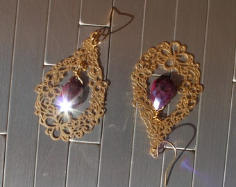 Genuine ruby silver coated faceted briolettes in 16k gold filigree teardrop shapes on 14k gold filled french hook earwires