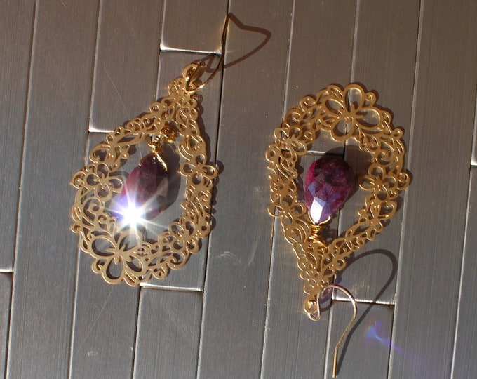Featured listing image: Genuine ruby silver coated faceted briolettes in 16k gold filigree teardrop shapes on 14k gold filled french hook earwires
