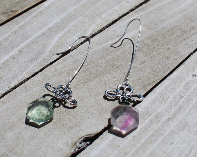 Octagon purple and green fluorite suspended from silver floral findings attached to silver 925 sterling silver french hooks