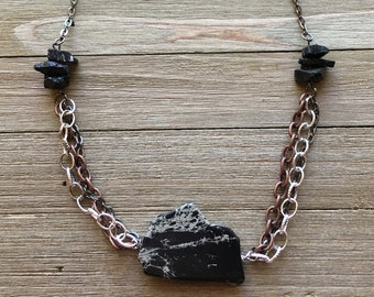 Black ocean jasper stone pendant necklace with accent chains with black tourmaline on gunmetal chain