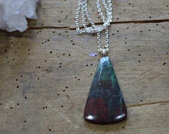 Sonoran sunrise stone pendant on bright silver chain