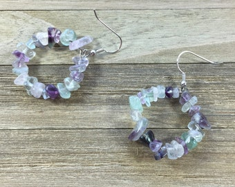 CLEARANCE! Purple, green and clear fluorite stone chips beads on silver hoops with silver french hook