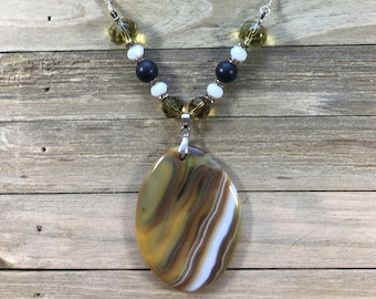 CLEARANCE! Yellow/black/white striped agate pendant onyx beads, faceted czech glass beads and rhinestone rondells silver necklace