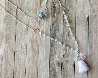 Pink Peruvian opal and faceted grey crystal layering necklace with opalite and czech glass beads rosary chain style on silver chain