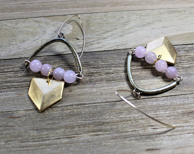 Brass and rose quartz arched earrings on 14k gold filled earwires