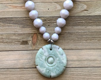 CLEARANCE! Green white grey specked jade heavy round engraved disc grey hemp cording with opaque graduated grey faceted beads statement