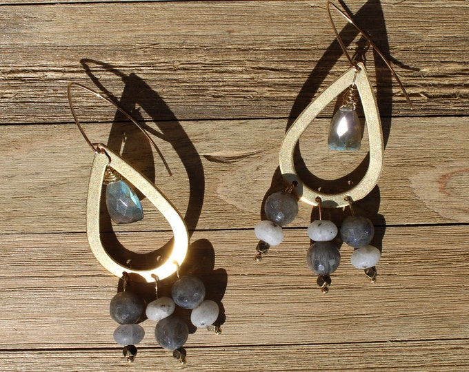 Chunky large labradorite suspended from brass teardrops on 14k gold filled french hooks