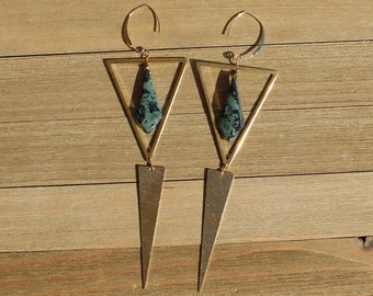Green kambaba jasper kites inside brass triangle with brushed brass triangle point on 14k gold filled earwires