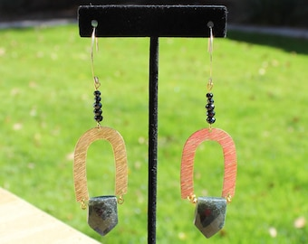 Green moss agate shield faceted with black spinel stones with brushed gold geometric shapes on 14k gold filled ear wires