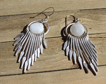 Moonstone faceted briolettes (silver coated) inside silver circles with fringe on 925 sterling silver earwires