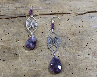 Lavender moss agate faceted suspended under silver geometric marquis and ruby on 925 sterling silver ear wires