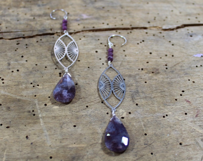 Featured listing image: Lavender moss agate faceted suspended under silver geometric marquis and ruby on 925 sterling silver ear wires