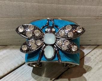 Silver, turquoise & rhinestone gunmetal dragonfly embellishment inlaid cuff bracelet