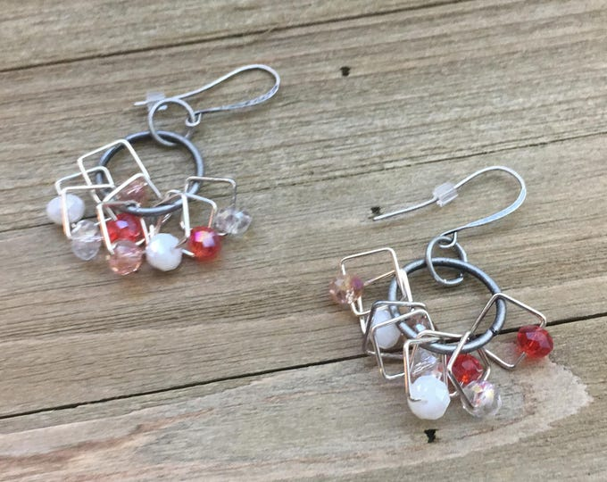 CLEARANCE! Orange peach and white geometric chandelier earrings with silver on nickel free french hooks