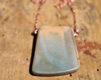 Red creek jasper chunky simple pendant on a copper colored chain necklace