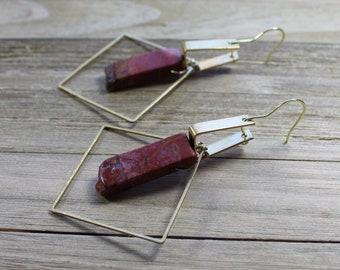 Red creek jasper in brass square shoulder duster earrings with geometric shapes on french earwires
