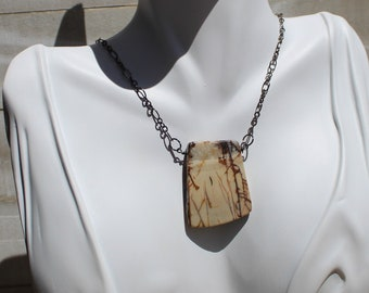 Red creek jasper chunky simple pendant on a gunmetal chain necklace