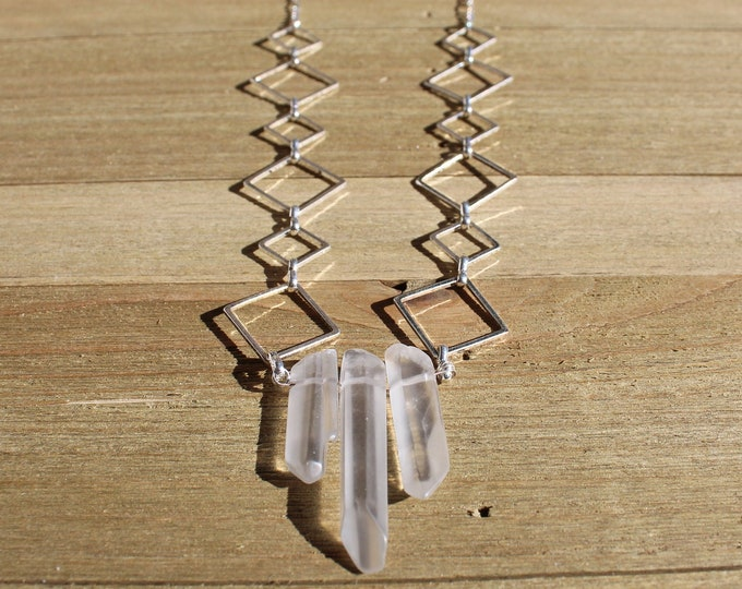 Frosted clear quartz stones suspended from geometric square silver and dainty silver chain