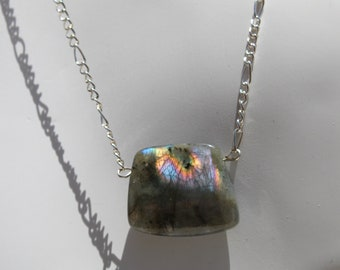 Labradorite flashy stone pendant on a silver delicate chain necklace