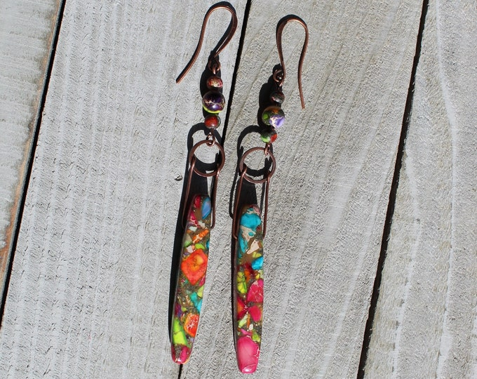 Rainbow sea sediment jasper teardrops hanging from copper circle geometric shapes, on nickel free copper colored french hook earwires