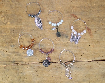 Garden / Flower Themed Mixed Metal - Set of 6 Wine Glass Charms