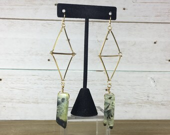 Chunky long semi-precious prehnite stick beads on geometric brass bars on 14k gold filled ear wires