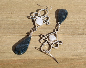Green moss agate teardrops suspended under silver geometric shape with rainbow moonstone on 925 sterling silver ear wires