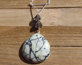 Soft green dendritic jasper teardrop natural gemstone pendant with rutilated quartz faceted 3D trillions on silver chain