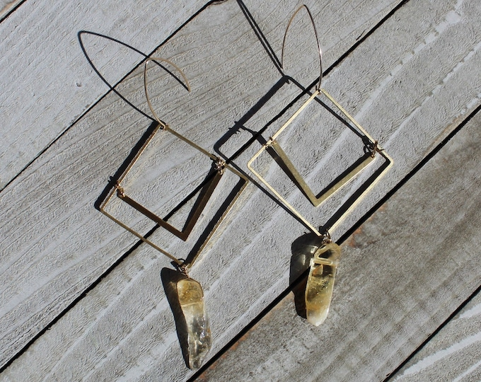 Citrine semi-precious stone tooth beads suspended from double square brass shapes on 14k gold filled french hooks