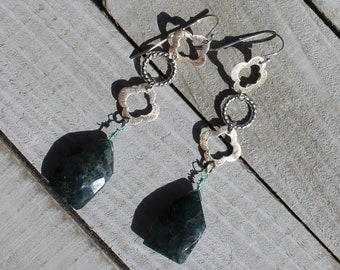 Green moss agate shield faceted suspended under silver clover and circle geometric shapes on 925 sterling silver ear wires