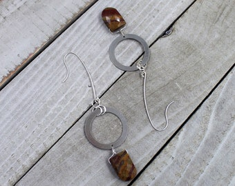 Tiger jasper stone suspended from silver circle, hanging from long 925 sterling silver earwires