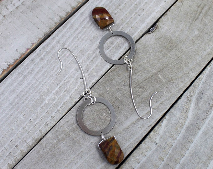 Tiger jasper briolette gemstone earrings with silver circle geometric shapes on 925 sterling silver ear wires
