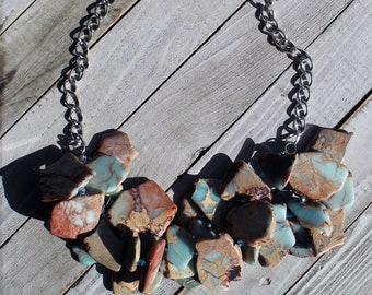 African opal aqua terra jasper / varcasite stone cluster necklace with czech glass accents on silver chunky chain