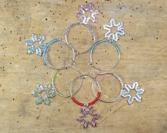 Snowflake charms Christmas / Winter - Set of 6 Wine Glass Charms