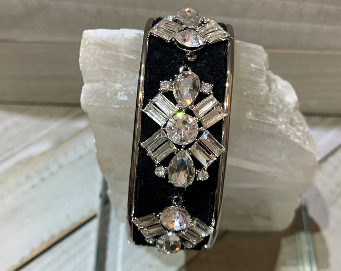 Silver, black and silver leather with clear rhinestone embellishment inlaid cuff bracelet