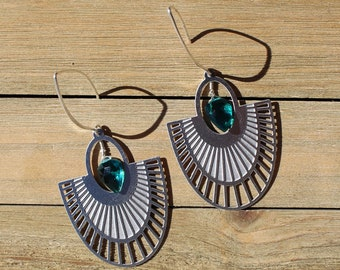 Bright peacock quartz faceted beads suspended inside stainless steel art deco fan shaped filigree teardrop on 925 sterling silver earwires