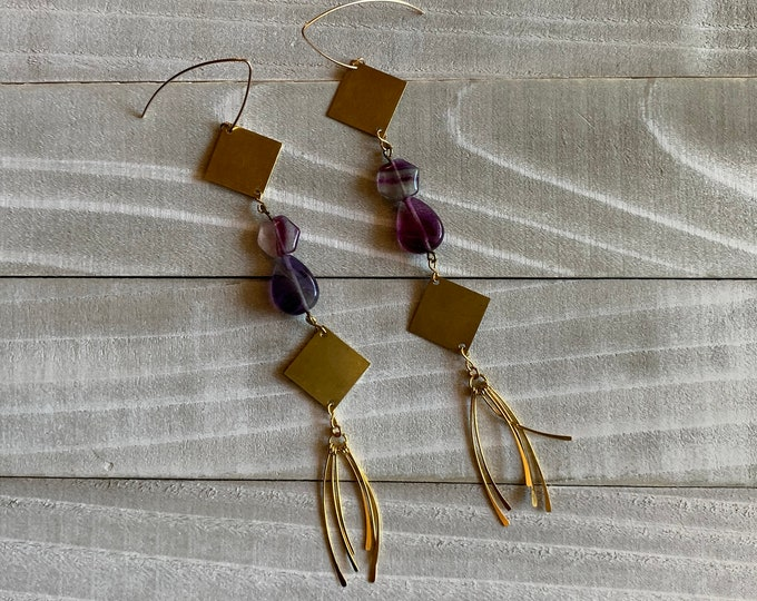 Octagon & teardrop purple and green fluorite suspended between brass squares with tassels, attached to 14k gold filled earwires