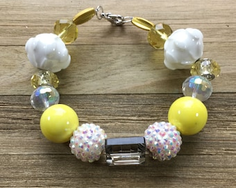 "CLEARANCE - Chunky yellow statement bracelet with yellow and white beads with silver lobster clasp closure 8"" long"